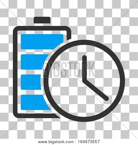 Battery Time vector pictogram. Illustration style is flat iconic bicolor blue and gray symbol on a transparent background.