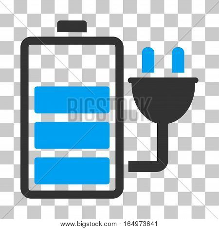 Charge Battery vector icon. Illustration style is flat iconic bicolor blue and gray symbol on a transparent background.