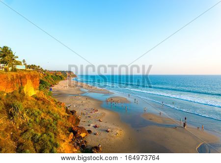 Varkala Beach Cliffs View Ocean Low Tide H