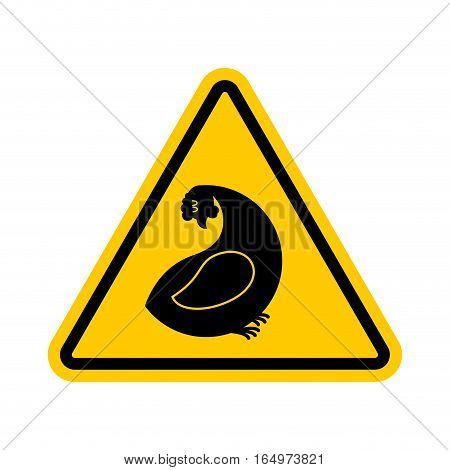 Attention Hen. Dangers Of Yellow Road Sign. Chicken Farm Caution