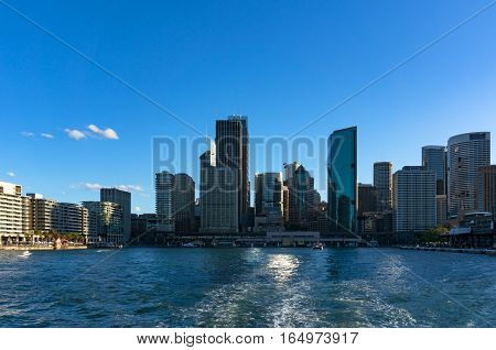 Sydney Skyline Of Circular Quay Viewed From Water