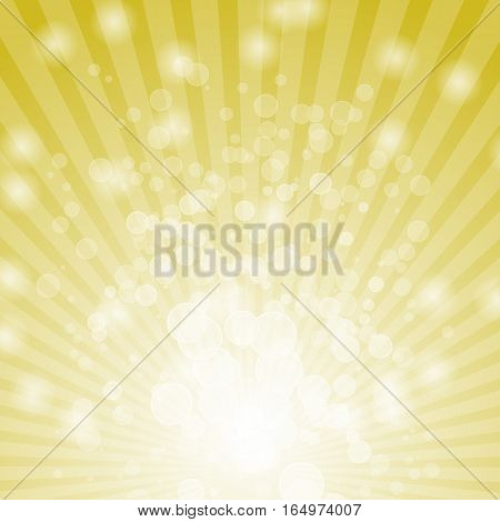 Abstract bokeh on yellow background, stock vector