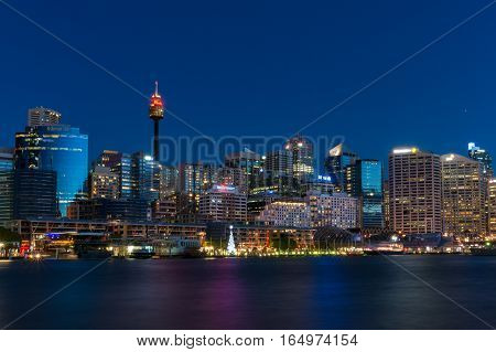 Darling Harbour And Sydney Central Business District Skyline At Night