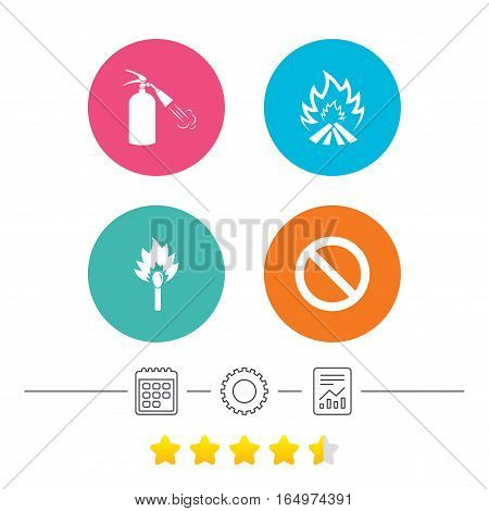 Fire flame icons. Fire extinguisher sign. Prohibition stop symbol. Burning matchstick. Calendar, cogwheel and report linear icons. Star vote ranking. Vector