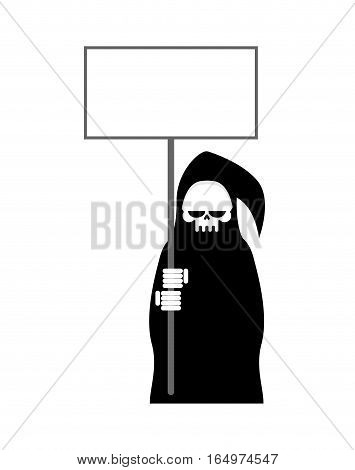 Grim Reaper With Empty Billboard Plate. Death In Hood Hold White Blank On White Background