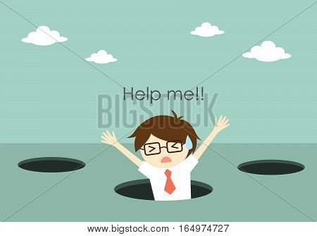 Business concept, Businessman fall into the hole and need help. Vector illustration.