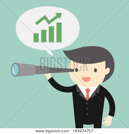 Business concept, Boss/Businessman using his telescope and see opportunity about business. Vector illustration.