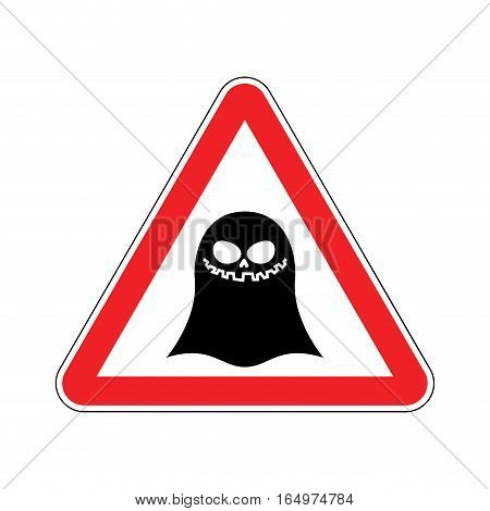 Attention Ghost. Dangers Of Red Road Sign. Spook Caution