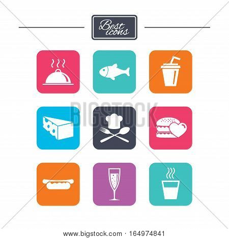 Food, drink icons. Alcohol, fish and burger signs. Hot dog, cheese and restaurant symbols. Colorful flat square buttons with icons. Vector