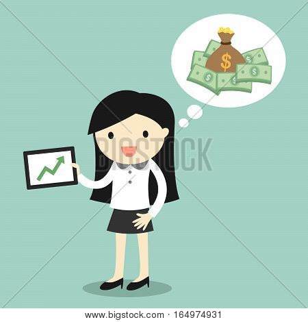 Business concept, Business woman feeling happy about her return of investment, gain money from investment. Vector illustration.