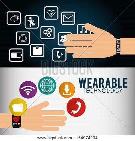 wearable technology smart watch infographic flyer vector illustration eps 10