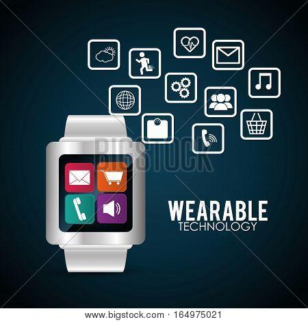 smart watch wearable technology multimedia vector illustration eps 10