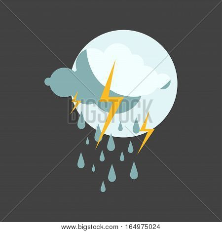 Weather rainy cloudy icon vector illustration. Season thermometer design thunder temperature sign. Meteorology sky or sun nature element for web application.