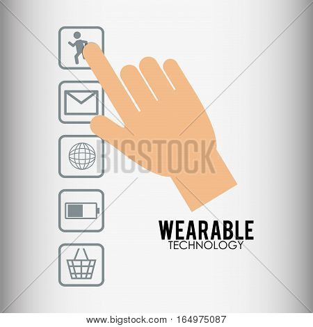 hand touch wearable technology device vector illustration eps 10