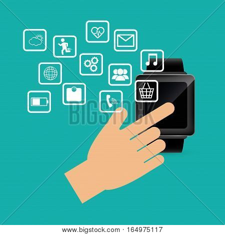 hand touch smart watch wearable technology device electronic vector illustration eps 10