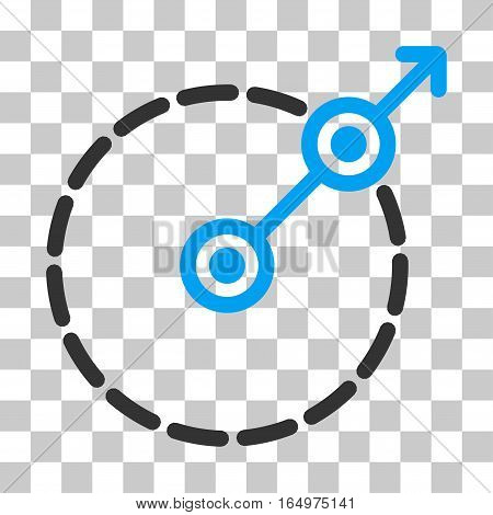 Round Area Exit vector pictogram. Illustration style is flat iconic bicolor blue and gray symbol on a transparent background.
