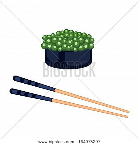 Sushi roll icon food and japanese gourmet seafood. Traditional seaweed fresh raw food vector illustration. Asian cuisine restaurant wasabi delicious.