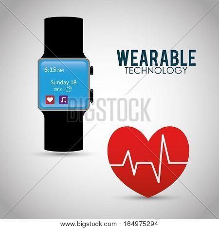 heart beat wearable technology watch device vector illustration eps 10