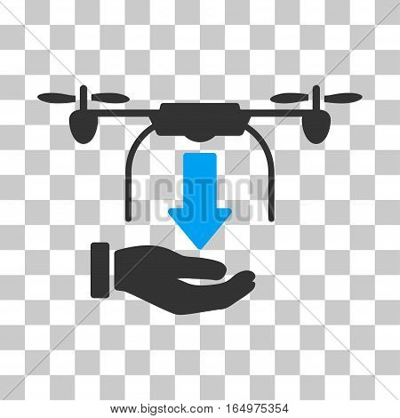 Unload Drone Hand vector pictograph. Illustration style is flat iconic bicolor blue and gray symbol on a transparent background.