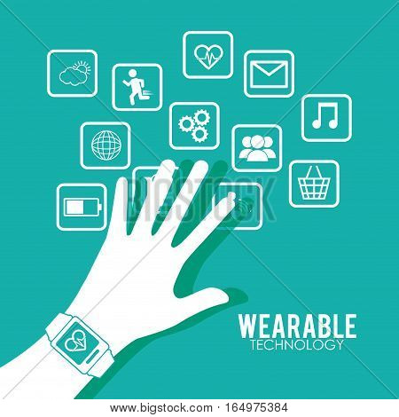 hand wearing smart watch wearable technology health green background vector illustration eps 10