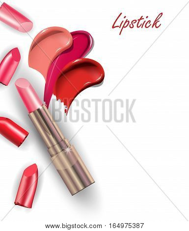 Pink lipstick and Collection of various Smears lipstick on white background. Beauty and cosmetics background. Use for advertising flyer, banner, leaflet. Template Vector.