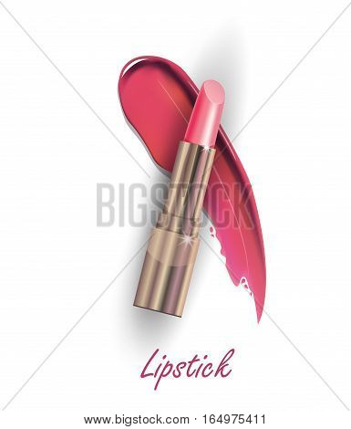 Pink lipstick and Smears lipstick on white background. Beauty and cosmetics background. Use for advertising flyer, banner, leaflet. Template Vector.