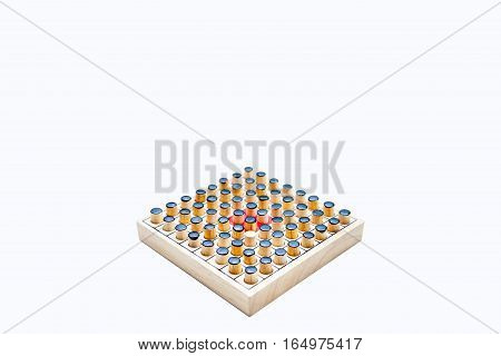 the one white in black of Wooden Revessi Othello game close up of Different wood stick on white background with a clipping path and copy space Business concept Selective focus