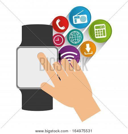 smart watch wearable technology communication vector illustration eps 10