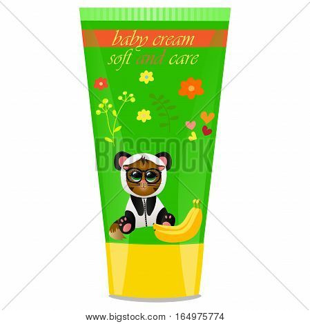 High quality original trendy vector Baby cream tube with kids design and cat in panda suit, banana illustration