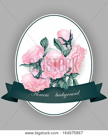 Greeting card with blooming roses . With place for your text. Use for Boarding Pass, invitations, thank you card, Birthday card Vector illustration.