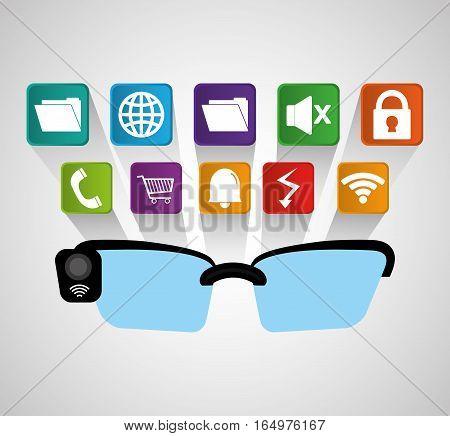 smart glasses wearable technology modern shadow vector illustration eps 10