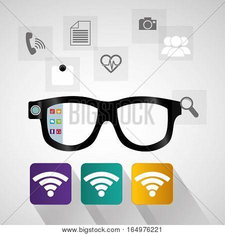 smart glasses wearable technology internet social media vector illustration eps 10
