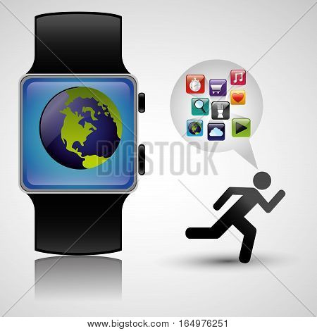wearable technology tracker fitness health vector llustration eps 10