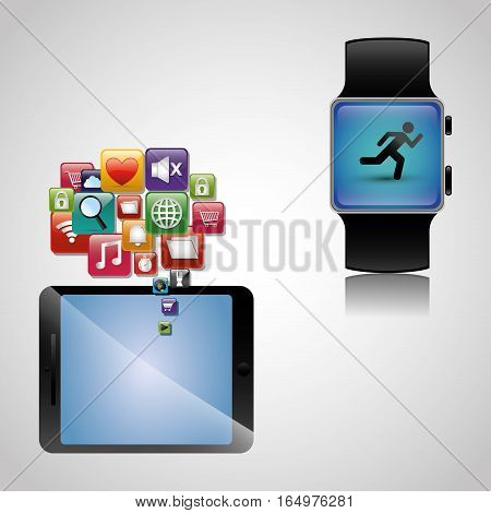 hand hold smartphone smart watch wearable sharing vector illustration eps 10