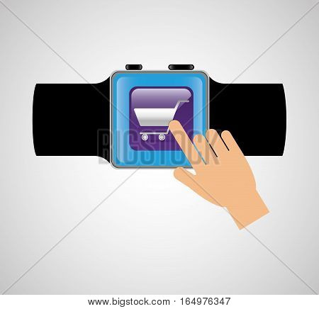 smart watch wearable technology shooping cart online vector illustration eps 10