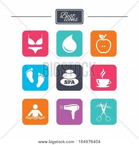 Spa, hairdressing icons. Swimming pool sign. Lingerie, scissors and hairdryer symbols. Colorful flat square buttons with icons. Vector
