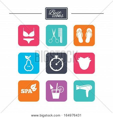 Hairdresser, spa icons. Diet cocktail sign. Lingerie, scissors and hairdryer symbols. Colorful flat square buttons with icons. Vector
