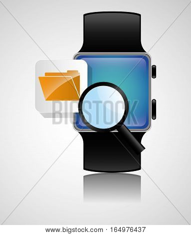 smart watch wearable technology file folder search vector illustration eps 10