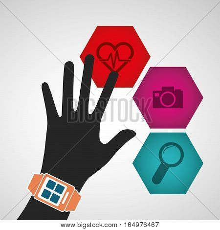 hand wearing smart watch wearable technology media icons vector illustration eps 10