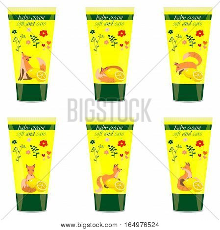 High quality original trendy vector lemon Baby cream tube with kids design and fox on floral background illustration