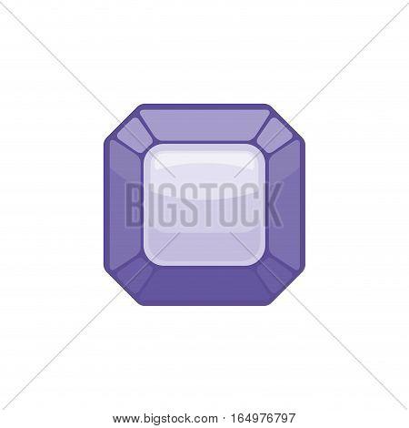 Amethyst Gemstone Isolated. Jewelry Purple Stone On White Background