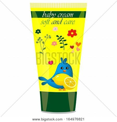 High quality original trendy vector Baby cream tube with kids design and bird, lemon illustration
