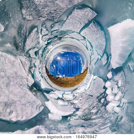 Ice Hummocks In Polar Spherical Projection Of Little Planet