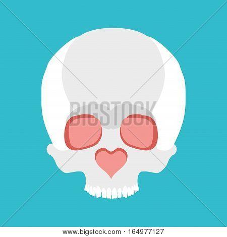 Skull Love. Nose Heart. Valentines Day Illustration