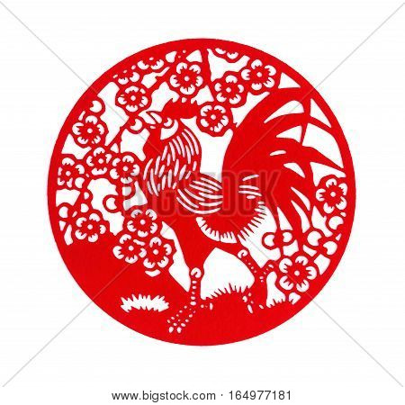 round shape red flat paper-cut on white as a symbol of Chinese New Year of the Rooster 2017