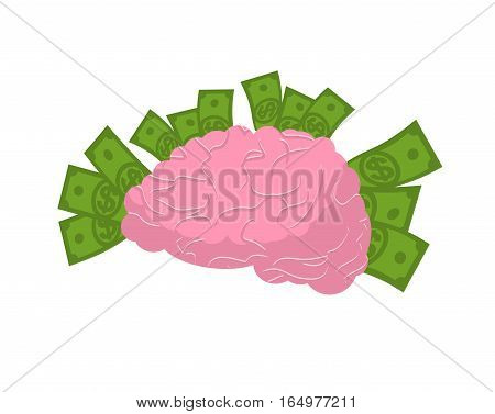 Brain And Money Isolated. Business Idea Concept. Human Brains And Cash. Dollar Think