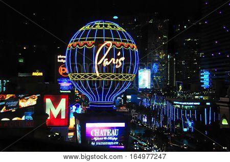 VEGAS NEVADA USA - January 11th 2016: Paris air balloon and the Strip