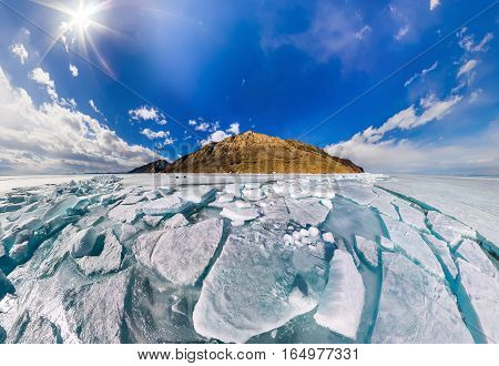 Wide Panorama Of Lake Baikal Ice Hummocks In Olkhon Island