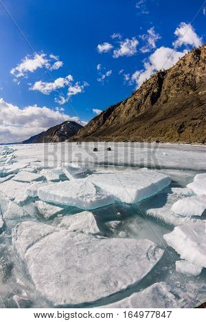 The Ice Cracks And Hummocks On The Ice Of Lake Baikal From Olkhon Island