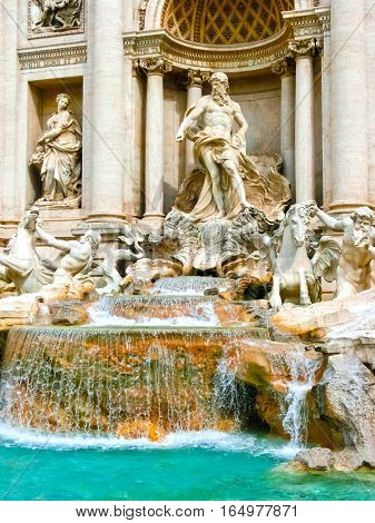 The fragment of Fountain di Trevi Rome Italy